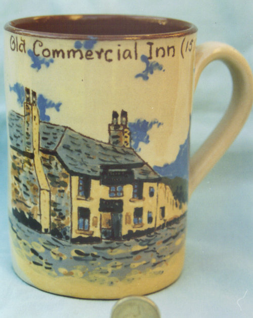 Bovey Tracy pottery Pub Jug,'Old Commercial Inn', one of a series