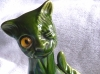Aller Vale 6ins Winking Cat green glaze, 'the most common of cats'