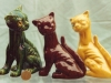 Aller Vale Cats, 6ins, in a variety of glazes, the brown is quite rare