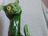 Aller Vale 12ins Winking Cat green glaze