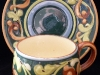 Aller Vale Pottery Cup & Saucer with B3 scroll pattern
