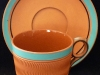 Watcombe Pottery terracotta Cup & Saucer with celeste colouring