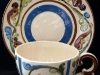 Aller Vale Pottery unusual-shape Cup & Saucer with B1 scroll pattern