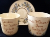 Aller Vale pottery, early and personalised Cups and Saucers