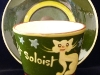 Aller Vale pottery, Cup and Saucer with Cat 'Midnight Soloist'