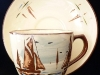 Devonshire Pottery Cup and Saucer with Boat design