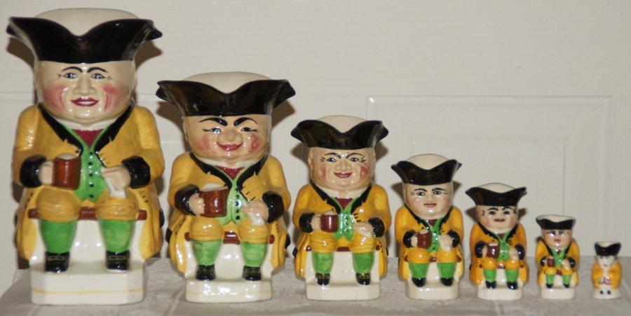 Set of Yellow Devonmoor Toby Jugs, 8.5