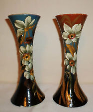 £50 Aller Vale Barbotine decorated vases 10ins Nov \'14