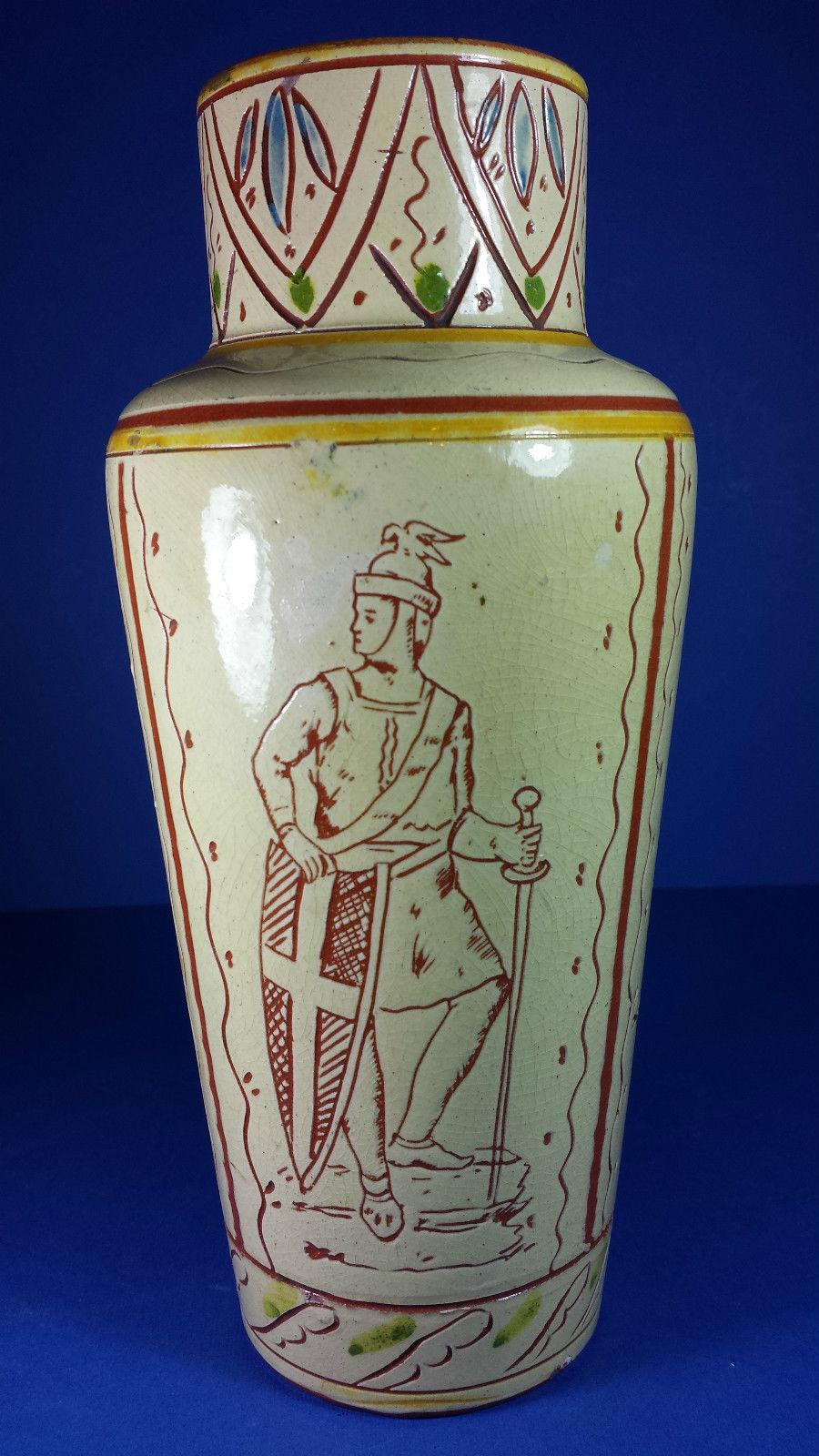 £94 Aller Vale vase with sgraffito knight Nov \'15