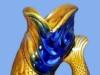 Dartmouth  Pottery. Gurgle fish Jugamber-blue-gurgle-jug
