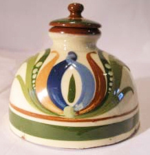 Aller Vale Inkwell, with stopper, decorated with a Scandy