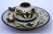 Watcombe Pottery unusual Inkwell and Stand with Penholder