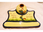 Longpark Inkwell and Stand, decorated with Coloured Cockerel, matched set