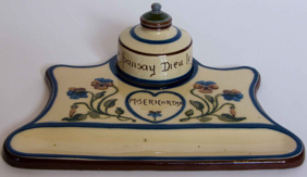 Longpark Inkwell and Stand, decorated with Pansies and rare Motto