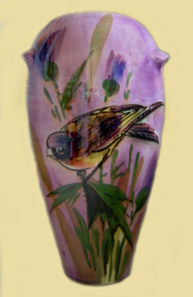 Lemon & Crute vase with bird on flowers.