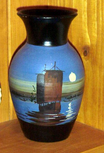 Lemon & Crute vase with ship in moonlightl