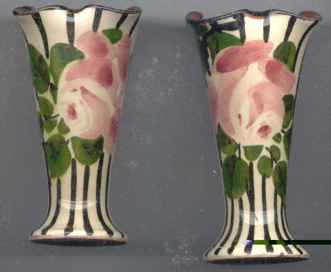 Lemon & Crute Vases with Roses on striped ground