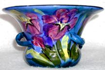 Lemon & Crute Vase with Iris in flown glazes