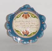 Longpark Pottery Plate with scalloped edge and scandy pattern