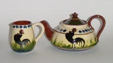 Longpark Pottery Teapot and Jug with black cockerel