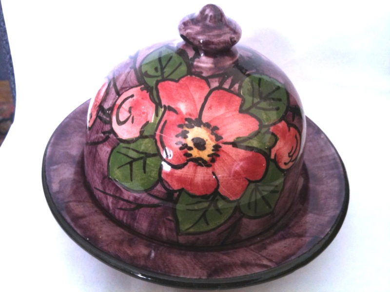 Longpark Pottery Butter Dish in the Alexandra Rose pattern