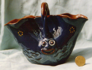 Longpark Art Pottery Basket with grotesque head on both sides