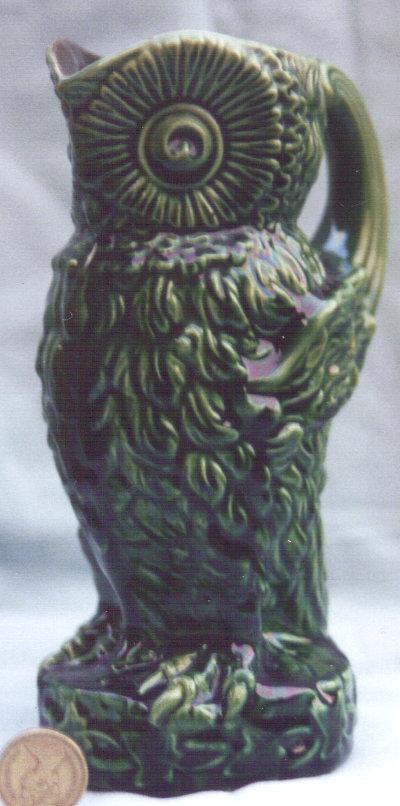 Longpark Art Pottery Jug modelled as an owl, turquoise ground