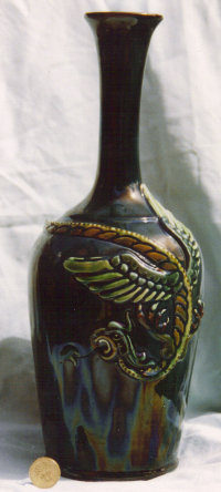 Longpark Art Pottery Vase with applied dragon, turquoise ground