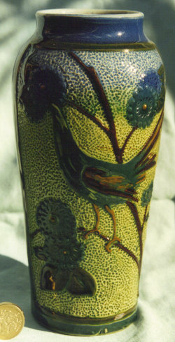 Longpark Art Pottery Vase decorated in North Devon style with a bird on stippled ground