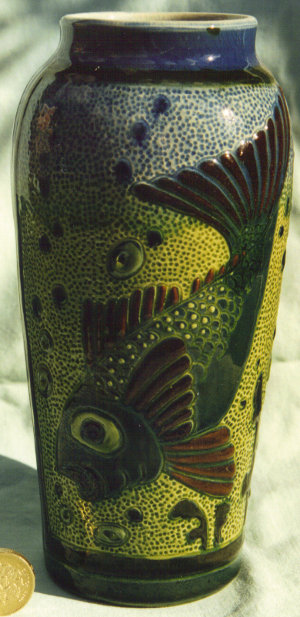 Longpark Art Pottery Vase decorated in North Devon style with a fish on stippled ground
