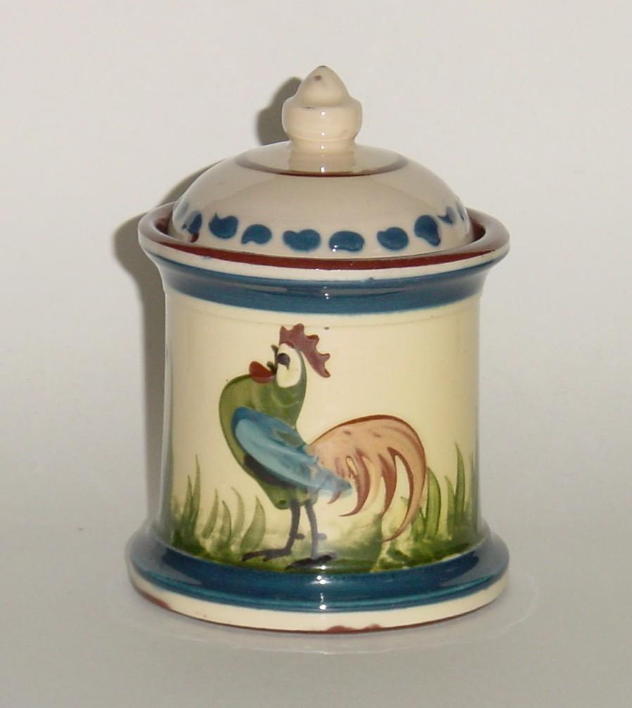 Longpark Pottery Tobacco Jar with coloured cockerel