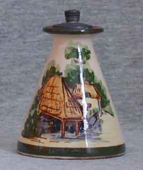 Longpark Pottery Scent Bottle showing Cockington Forge