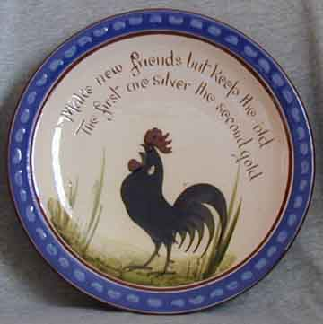 Longpark Pottery Plate with black cockerel