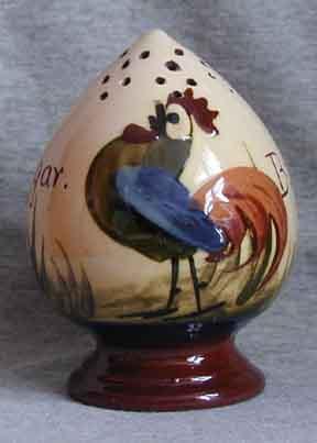 Longpark Pottery Sugar Shaker with coloured cockerel