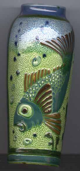 Longpark Pottery Vase with North Devon style Fish decoration