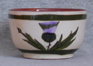 Longpark Pottery Bowl with thistle decoration