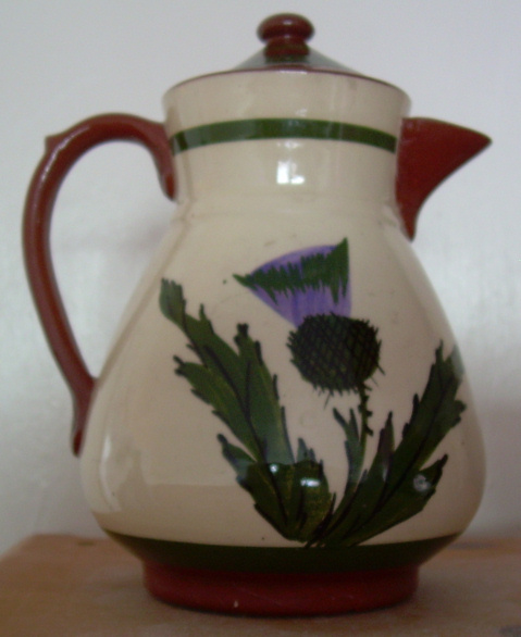 Longpark Pottery Hot Water Jug with Thistle decoration