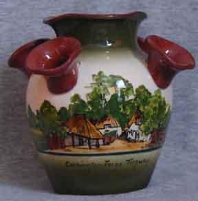 Longpark Pottery Udder Vase with faience decoration of Cockington Forge