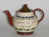 Longpark Pottery Teapot showing motto