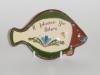 Longpark Pottery Tray in the shape of a fish 'plaice' motto