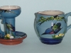 Longpark Pottery Candlestick and Jug with kingfisher decoration