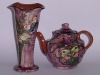 Longpark Pottery Vase and Teapot with butterflies on streaky purple ground