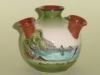 Longpark Pottery Udder Vase decorated in faience with Anstey's Cove Torquay