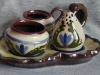 Longpark Pottery Cruet Set on leaf-shaped stand, scandy pattern