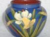 Longpark Pottery Jar with Daffodil on blue ground