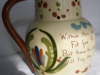 Watcombe Pottery Puzzle Jug, Scandy decoration, 8ins high (a large size)
