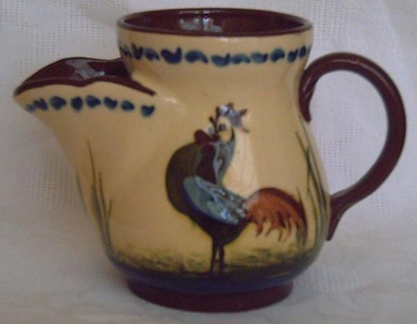 Longpark Pottery, Shaving Mug with Coloured Cockerel decoration