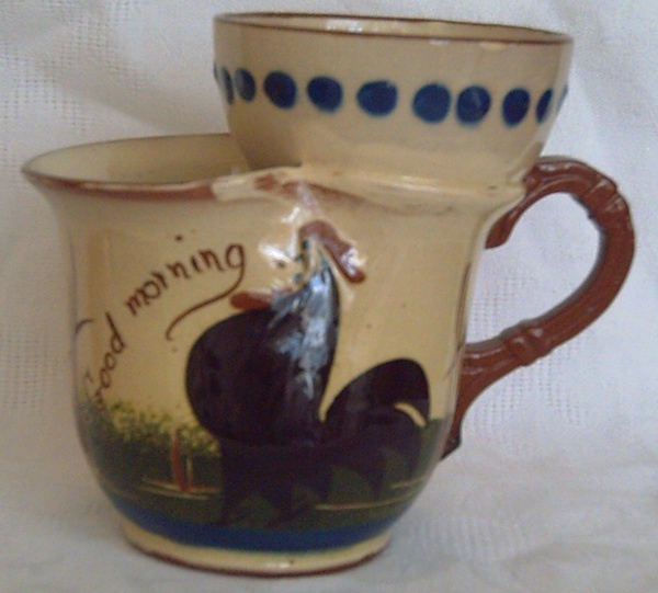 Watcombe Pottery, Shaving Mug with Cockerel decoration