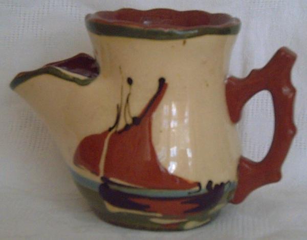 H&M Exeter Pottery, Shaving Mug with Fishing Boat decoration