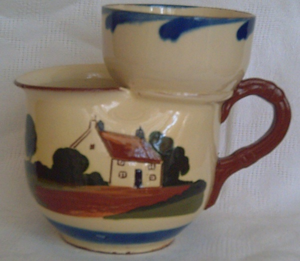 Watcombe Pottery, Shaving Mug with Cottage decoration